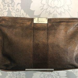Jimmy Choo Metallic Bronze Textured Leather Clutch